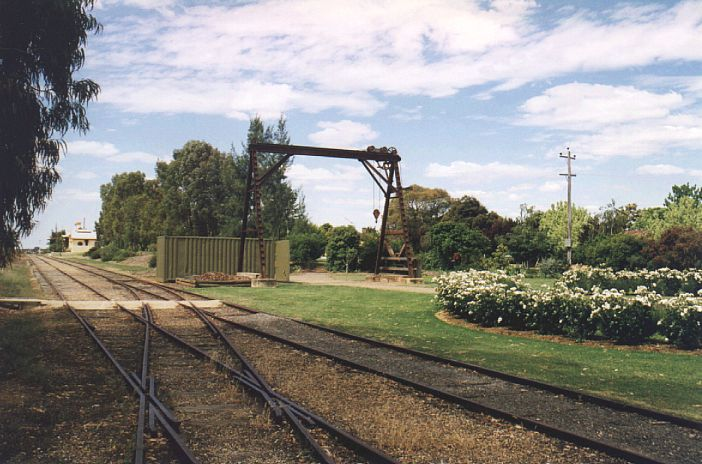 The gantry crane and surviving yard trackwork.  The station is in the left distance.