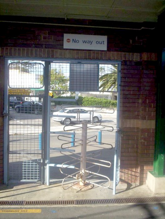 The turnstiles at Cronulla sit quietly awaiting their next use.