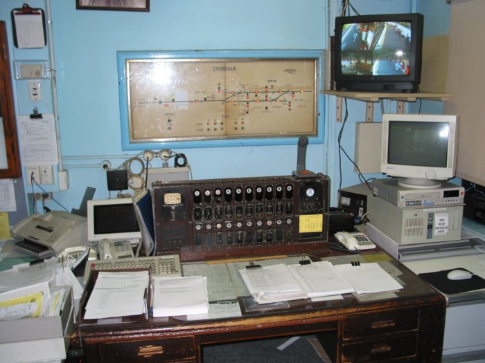 The station master's desk and signal diagram.