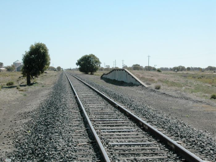 The view looking towards Walgett.  The goods bank is present, although the loop siding has been lifted.