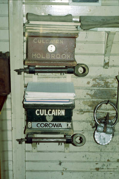 The staff and ticket boxes for both Holdbrook and Corowa in Culcairn Signal box.