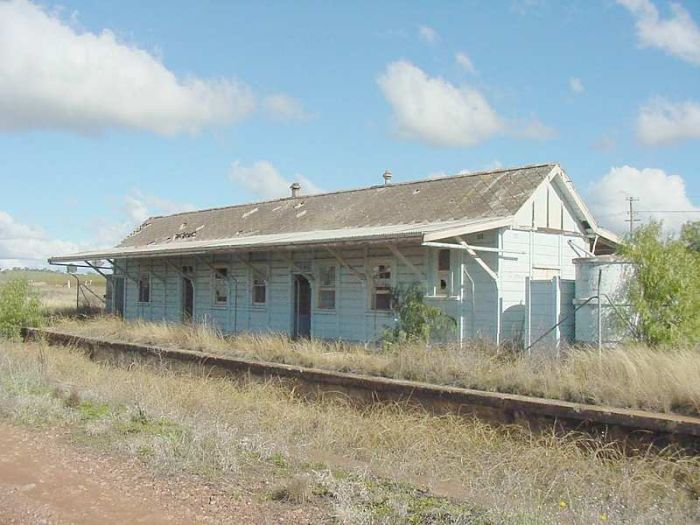 The dilapidated station building, from Yeoval end.