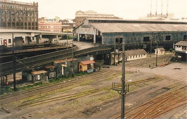 The view looking north-west over the Double Tier Goods Shed.  This has now been replaced by the Novotel Hotel.  The orange building in the centre is the Murray Street signal box.