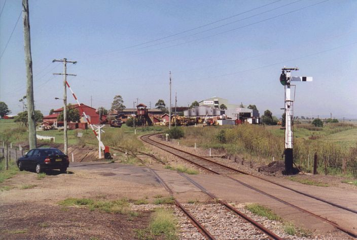 The view down the line from the station.  The track on the left went to the one-time locomotive servicing facilities.