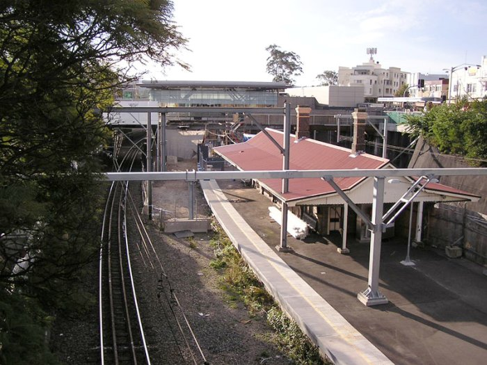 Looking north Epping Road overpass, showing the old platform which is now sans track.