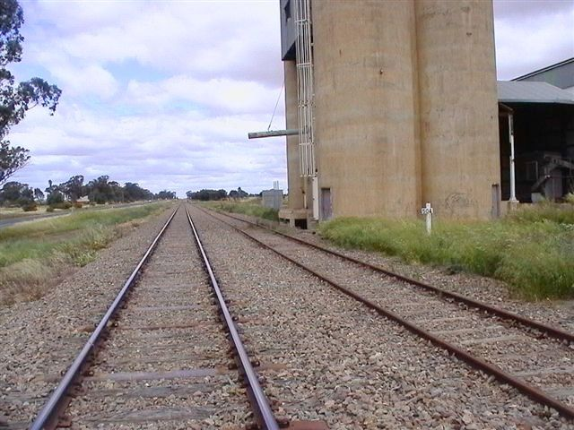 A view of the silo and wheat siding, looking back towards Temora.  The one-time station was about 100m away in the distance.