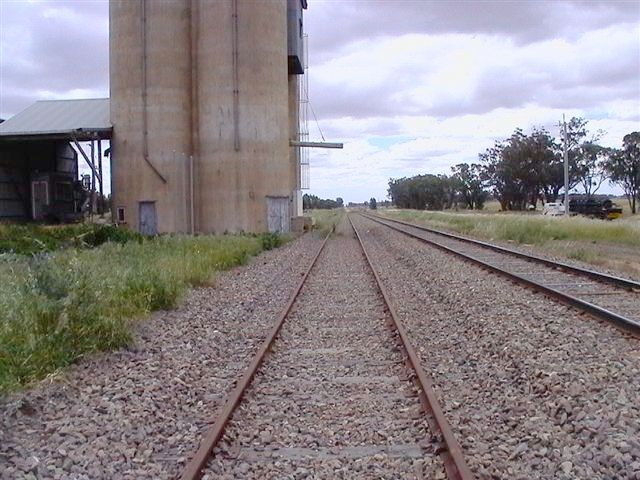 The view of the silo and wheat siding, looking towards Barmedman.