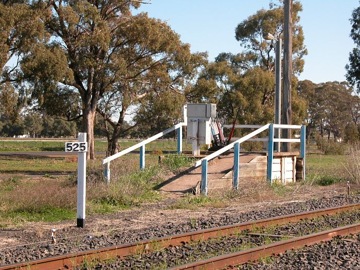 The short platform containing the yard frame, alongside the 525 km post.  This is all that remains of the station.