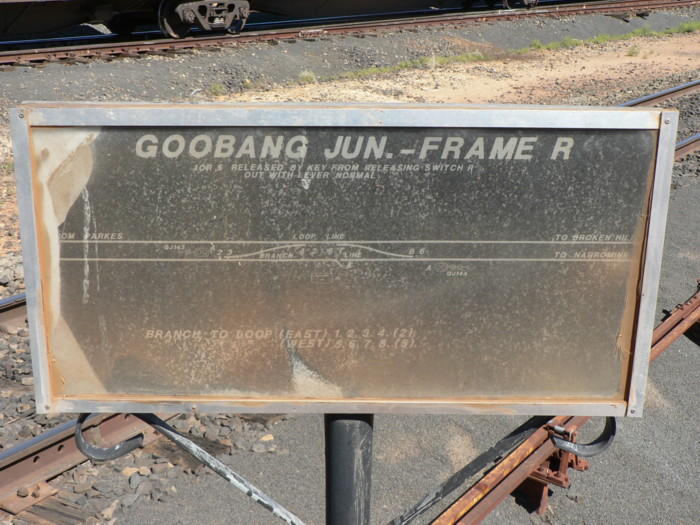 The weathered diagram at the junction of the Broken Hill and the line to Narromine.