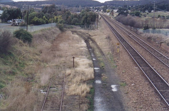 The Crookwell line begins to curve away from the Main South line, just to the south of the Mulwaree Viaduct.
