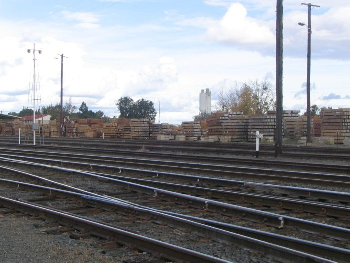 Timber stockpiled at Grafton station with a 699 kilometre marker in the foreground.