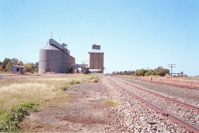 The view up the line showing the silos which dominate the location.