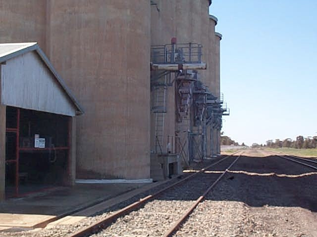 The view looking east along the unloading chutes for the grain silos.