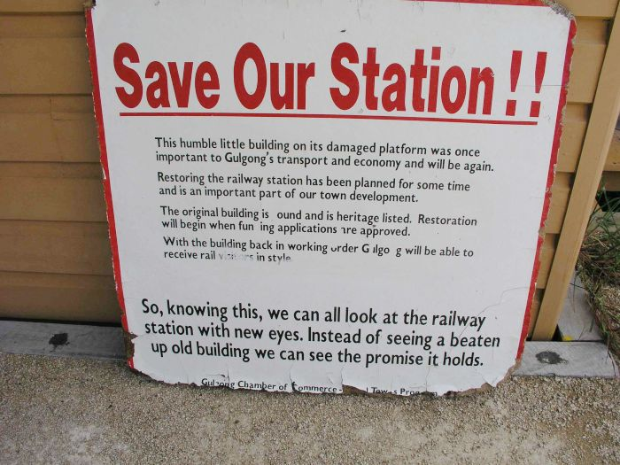 A sign discussing the restoration of the station.