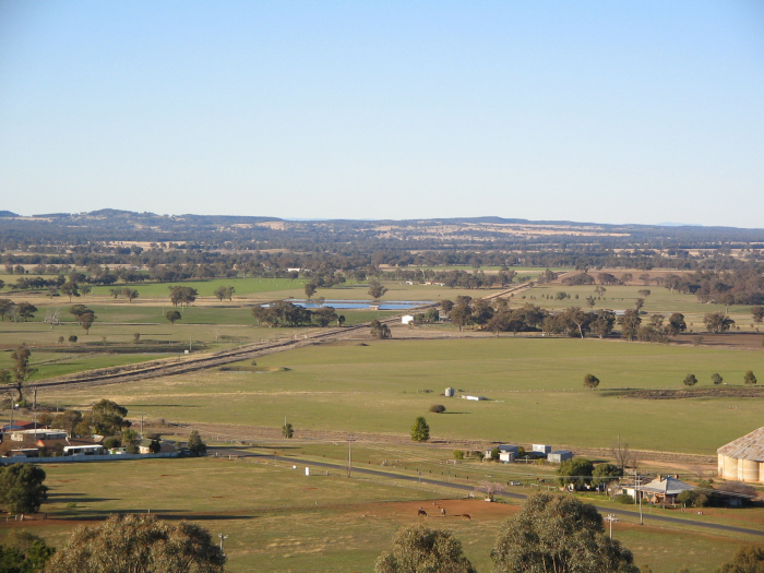 The view from the top of Flirtation Hill, showing the cross-country line heading towards Ulan and eventually Muswellbrook.