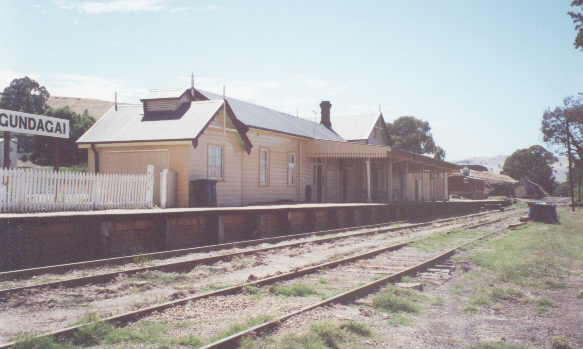 The station and yard, now 17 years after closure.  The platform has been rebuilt as part of local preservation efforts.