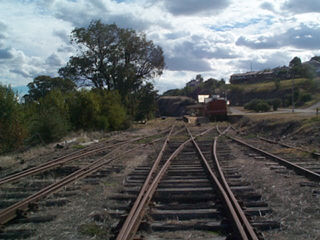 The approach to the station from the up end.  A wagon sits in the dock siding on the right hand side.