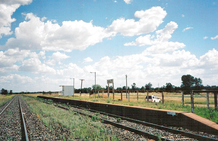 A view of Gurley Station looking back towards Narrabri.