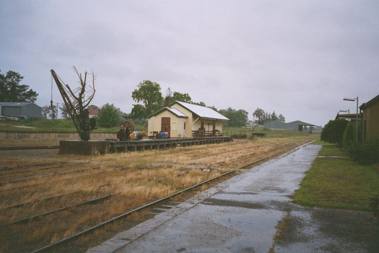 The yard at Guyra, with goods platform, crane and shed.