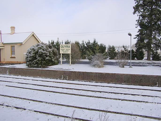 An unusual shot of a snow-covered station.