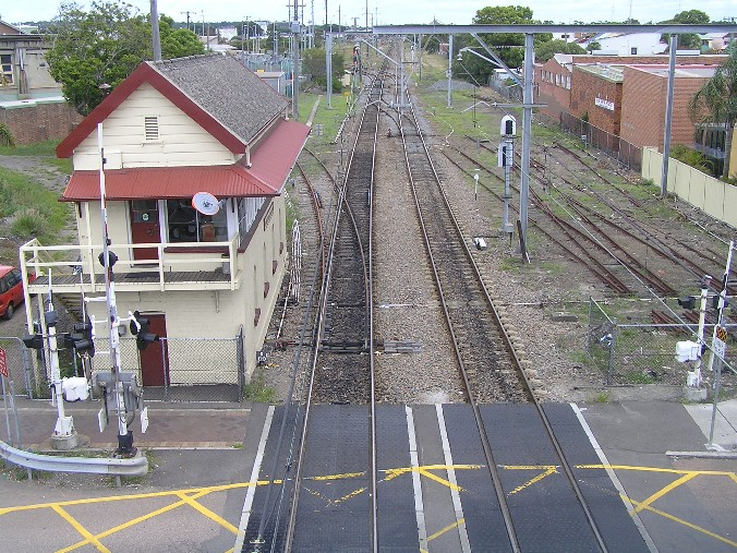 An elevated view looking west towards Hamilton Junction.