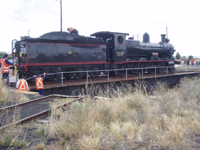 3237 being turned on the turntable at Harden.