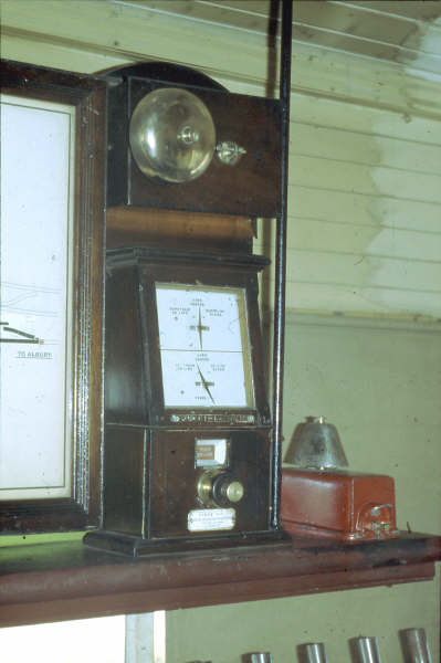 "Harden North and South had Tyers Block instruments to the last. These old but true tested instruments chimed their message of safe travel for many decades. This is the one in Harden North Box and shows the ""Train on line"" position."