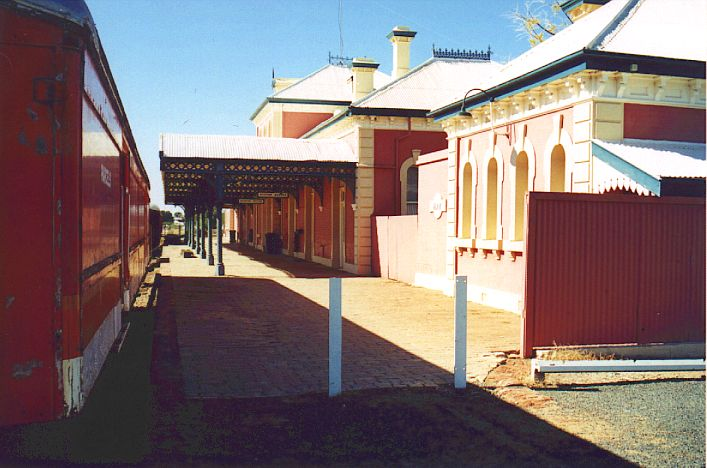 The view along the platform at Hay, showing one of the captive carriages.