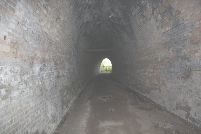 The view looking through tunnel toward the current mainline.