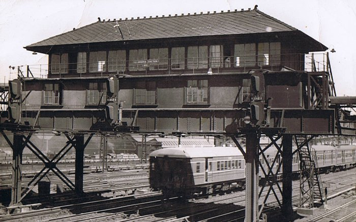 A view of the former elevated Illawarra Junction signal box.