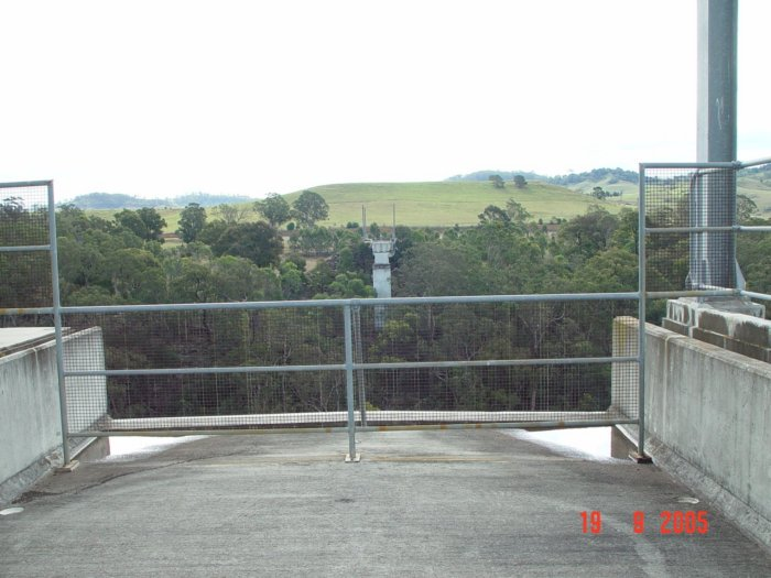 The view looking north across the Nepean River to the partially-completed northern abutment.