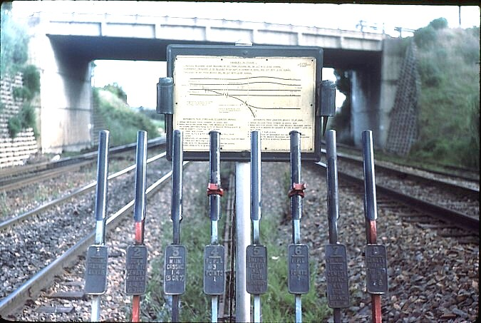 Sandgate Cemetery Junction frame and diagram on the main line.