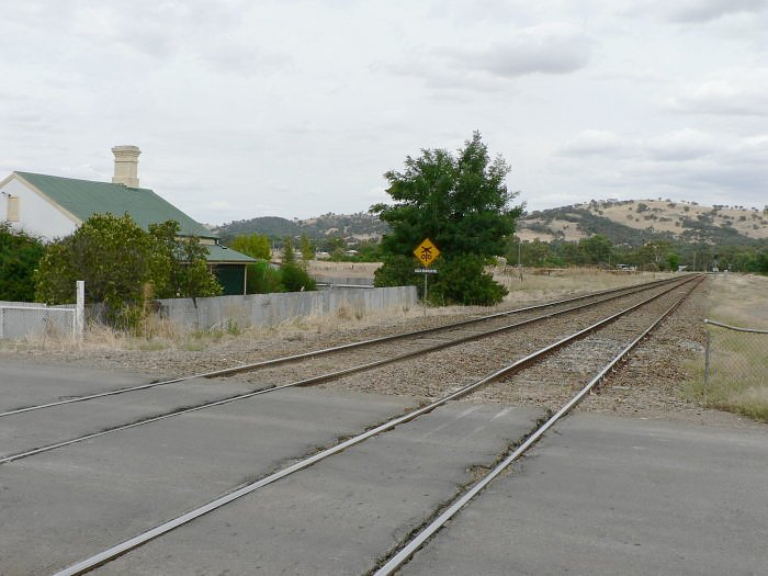 The view looking south towards the location of the one-time branch to Tumut. The junction was located adjacent to the large tree in the centre.