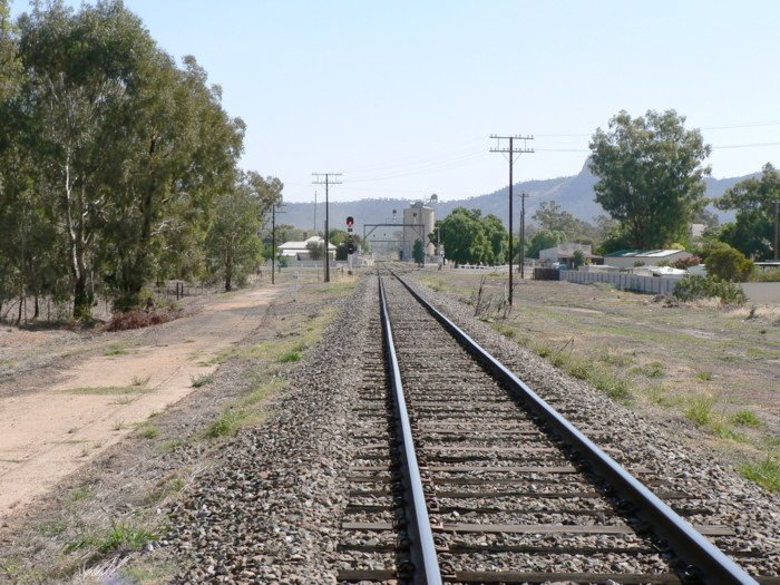 The view looking south at the former junction of the line to Westby. The line entered from behind the camera on the left.