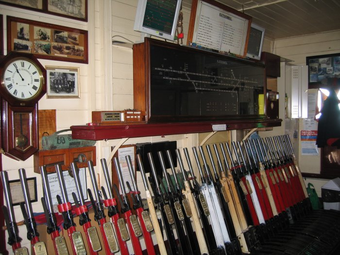 A view of the interior of the signal box.