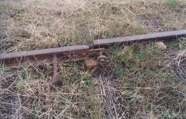 The stub derail at the up end of the loop siding.