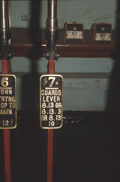 A close up of the not-so-usual Guards Lever which locked a group of levers.