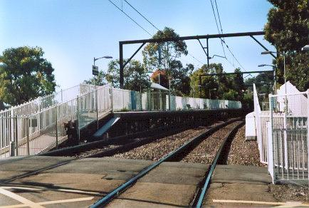 The southbound platform, taken from the adjacent level crossing.