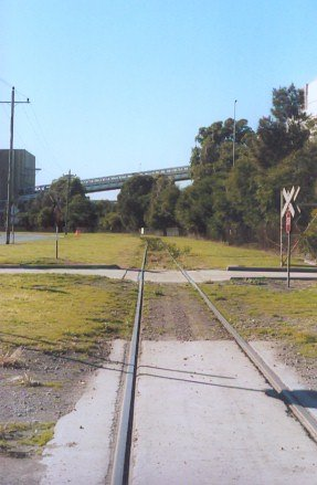 A view of the spur line (adjacent to the Cormorant Road) from Kooragang Island branch looking towards the Kooragang Coal loader.