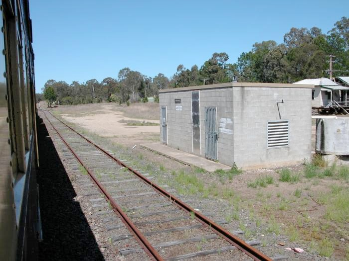The disconnected goods siding and local panel shed at Kundabung.  The station was located on the opposite side of the train.