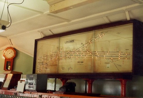 A view of the interior of the old Lidcombe signal box, including the train indicator diagram.