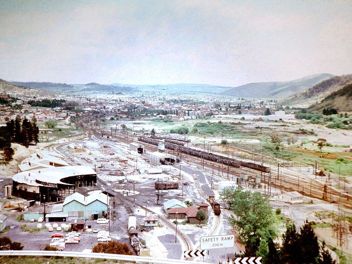 The view looking down over Lithgow Yard.