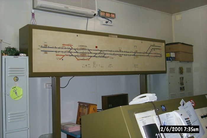 The diagram inside the signal box at Liverpool.