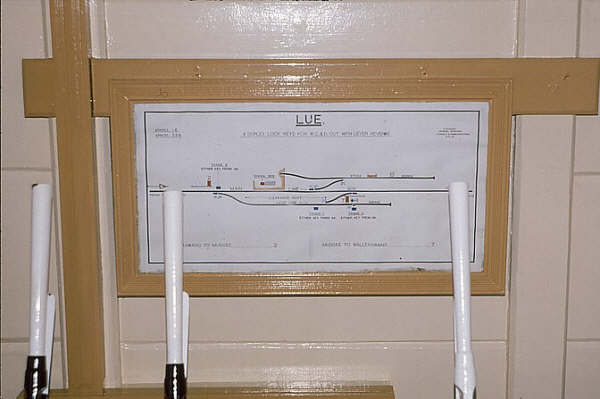 Lue track diagram in 1985, a year before closure. The levers were painted to avoid rusting in the unattended box.
