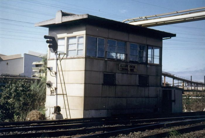 Allan's Creek signal box was located between Lysaghts and Cringila on the Port Kembla branch.  It controlled the lines to Lysaghts and AIS sidings.