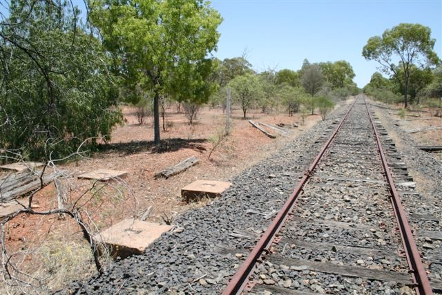 The view looking down the line towards Bourke.