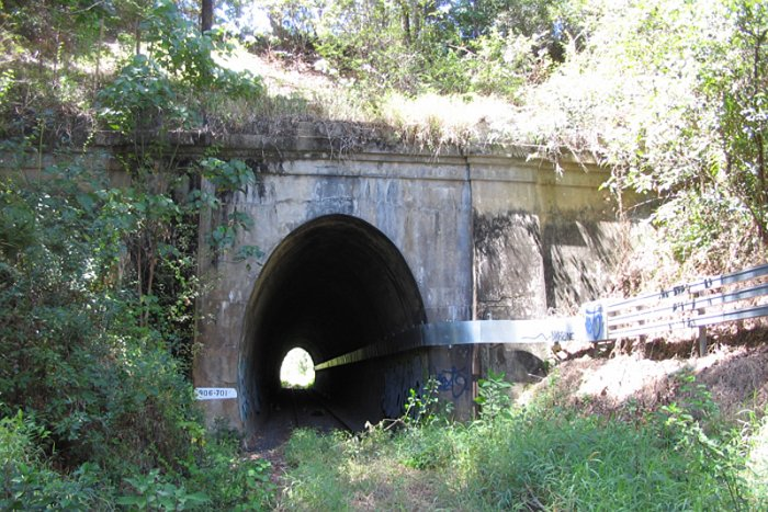 The north portal of the tunnel.
