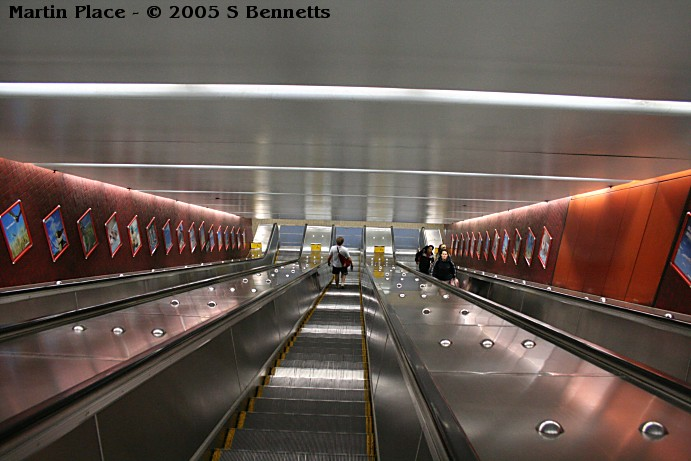 The view looking down the escalators to the platforms.