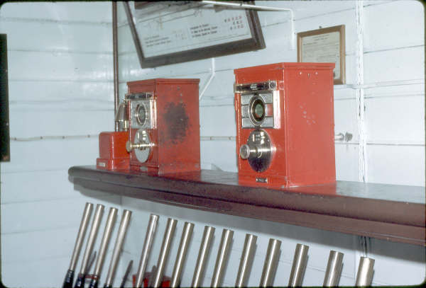 One of the two sets of block instruments in Marulan Signal Box 1980.