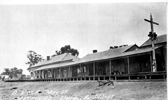 A historic photograph of Mathoura station.